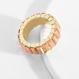 Gold Emerald Cut Bling Stacking Ring - Burnt Orange