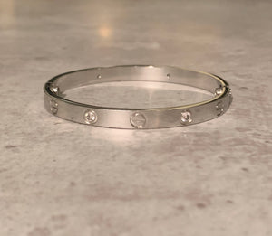 Stainless Steel and Cubic Zirconia Screw Bangle