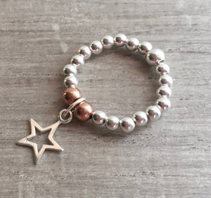 Silver And Rose Gold Ball Stacking Ring With Star Charm