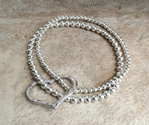 Silver Ball Double Stacking Bracelet With Large Floating Heart