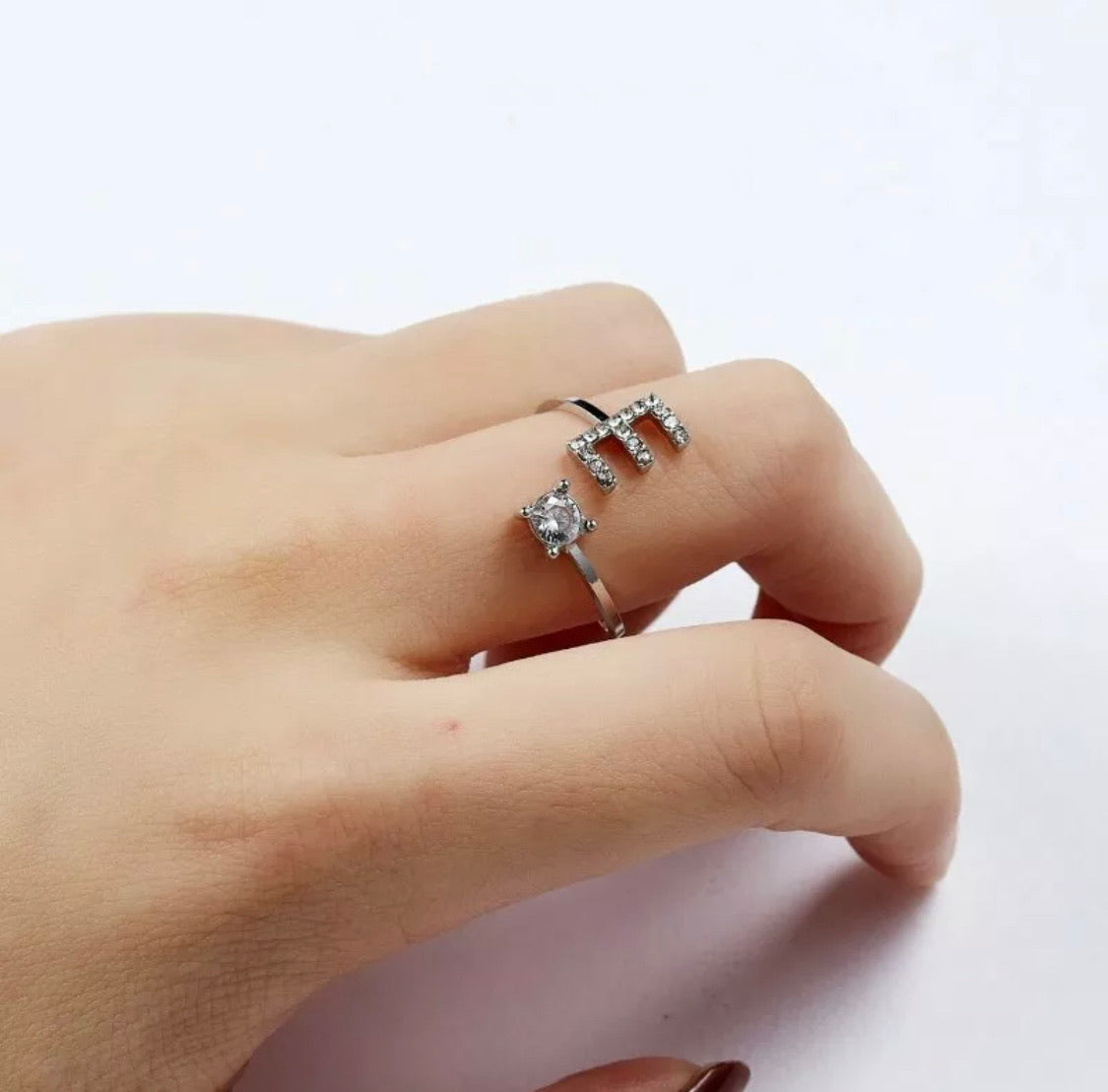 Silver And CZ Diamanté Adjustable Initial Ring