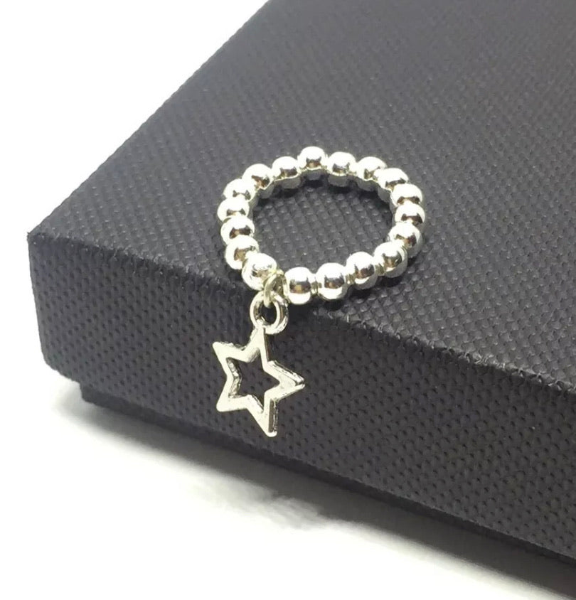 Silver Ball Stacking Ring With Star Charm