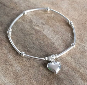 925 Sterling Silver Ball Stacking Bracelet With Heart Charm