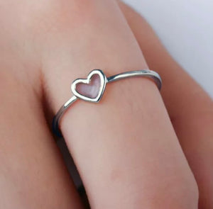 Silver Dainty Heart Stacking Ring