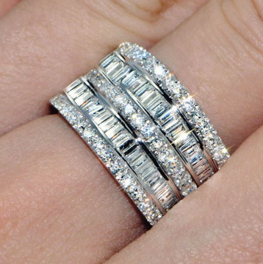 Silver And Cubic Zirconia Layered Cathedral Ring
