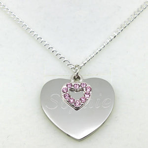 Limited Edition Personalised Silver Heart Charm Necklace - FREE Engraving