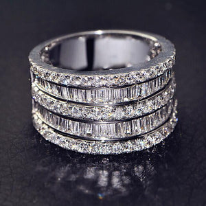 925 Sterling Silver And Cubic Zirconia Layered Cathedral Ring | Kelabu Jewellery