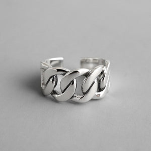 925 Sterling Silver Chunky Chain Statement Ring