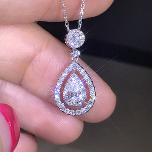 Sterling Silver, Real Diamond And White Topaz Teardrop Pendant Necklace