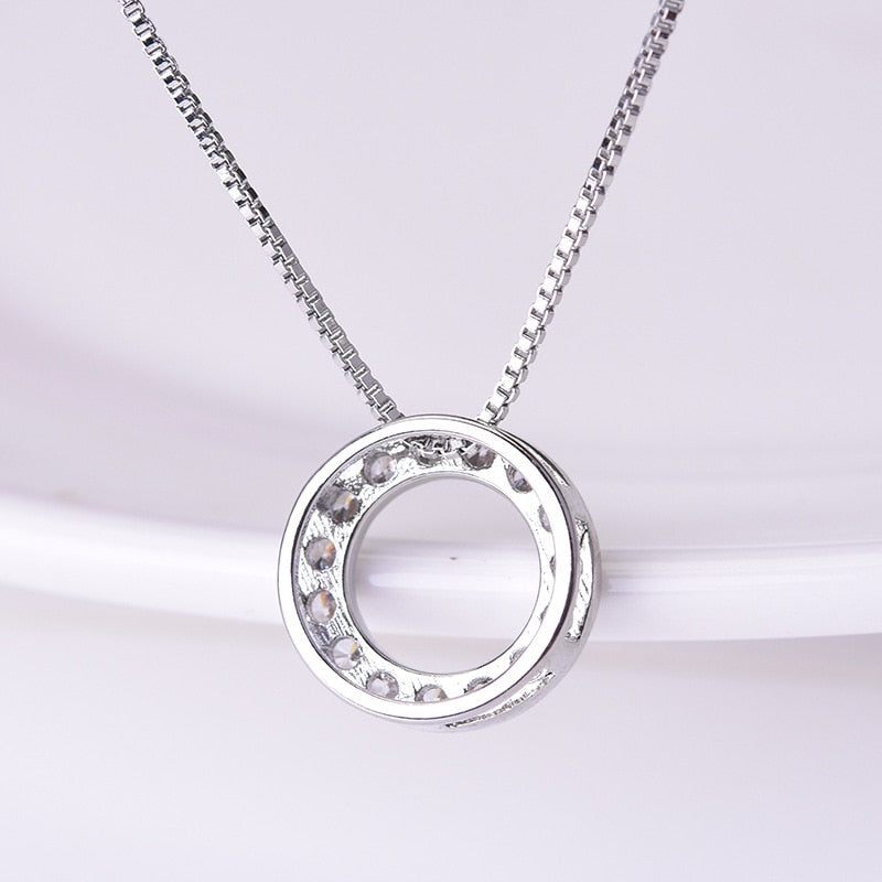 925 Sliver, Diamond And Topaz Karma Circle Necklace