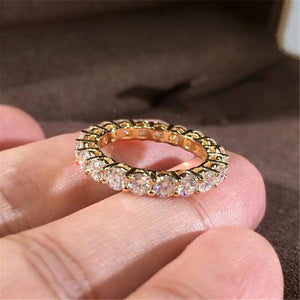 Gold Tone Sterling Silver With Round Cut Cubic Zirconia Statement Eternity Ring