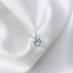 925 Sterling Silver Necklace With Round Crystal Pendant