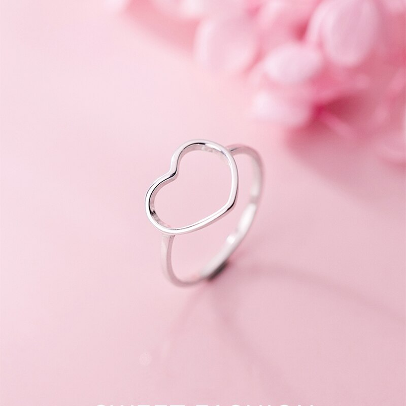 925 Sterling Silver Dainty Floating Heart Ring