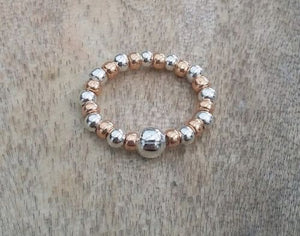 Rose Gold And Silver Plated Beaded Stacking Ring | Kelabu Jewellery