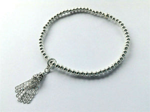 Silver Beaded Stacking Bracelet With Chain Tassel Charm