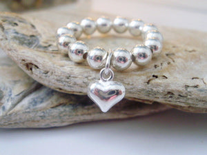 Silver Plated Beaded Ball Ring With Heart Charm