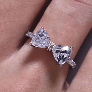 Silver And Diamante Bow Statement Dress Ring | Silver Dress Rings | Kelabu Jewellery