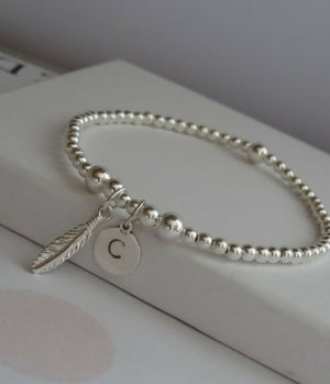 925 Sterling Silver Beaded Initial Bracelet With Feather Charm