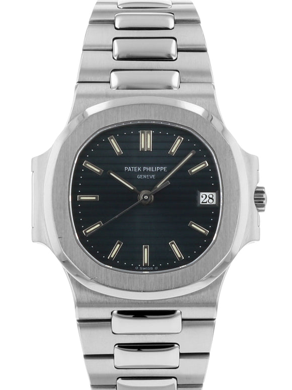 Pre Owned Patek Philippe Nautilus 3800 1a Stainless Steel Black Blue