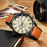 Men's waterproof quartz watch with leather strap CURREN 8250