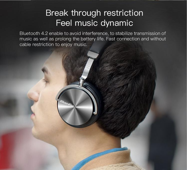 Bluedio T4S Bluetooth 4.2 Wireless Headphones, ANC, Extra Bass