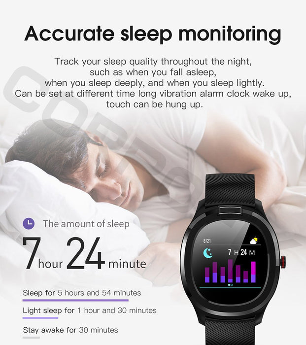 Smart clock Corpofix CW01, measurement of body temperature, ECG, oxygen content in the blood, blood pressure, pulse, notifications