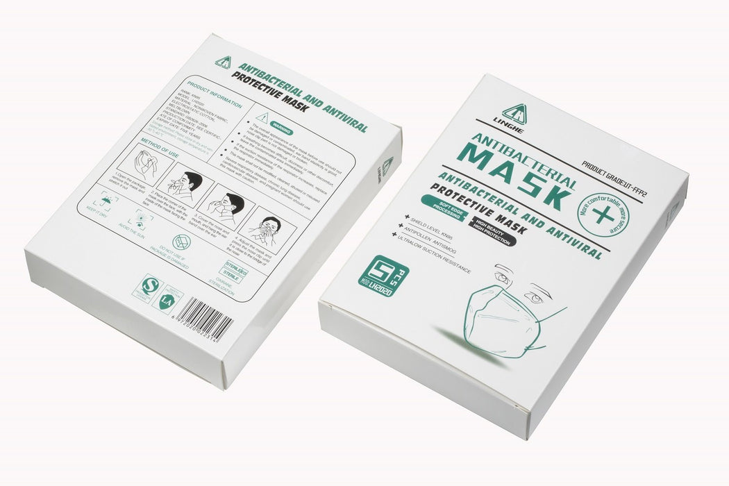 Box 5 pieces standard Mask FFP2, N95, KN95 against air pollution, PM2.5, Antibacterial, Antiviral