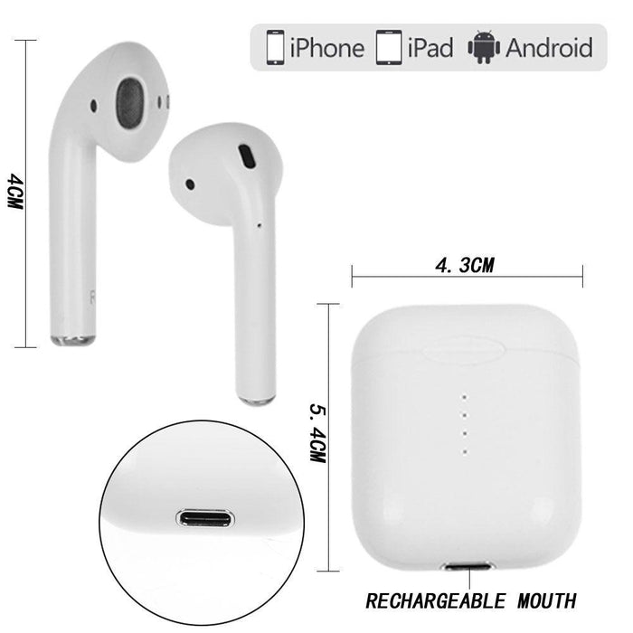 i10 TWS AirPods Wireless Earphones with Powerbank case, Touch Control, Bluetooth 5.0, Wireless Charging, Super Bass