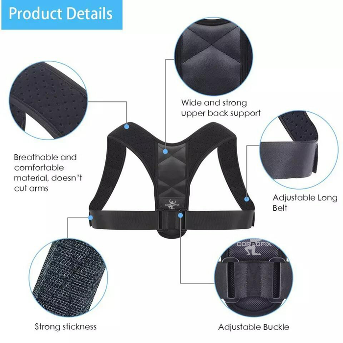 Corpofix - Medical Posture Corrector Men Women Upper Back Brace Shoulder Lumbar Support