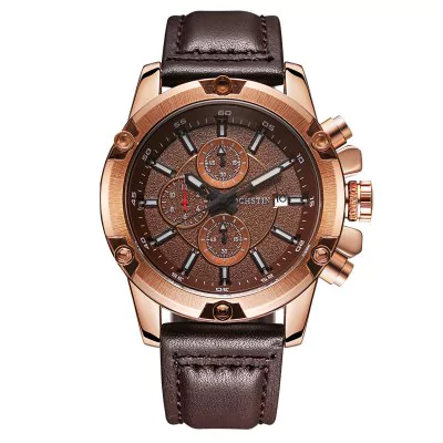 Men's waterproof quartz watch with leather strap OCHSTIN 075B
