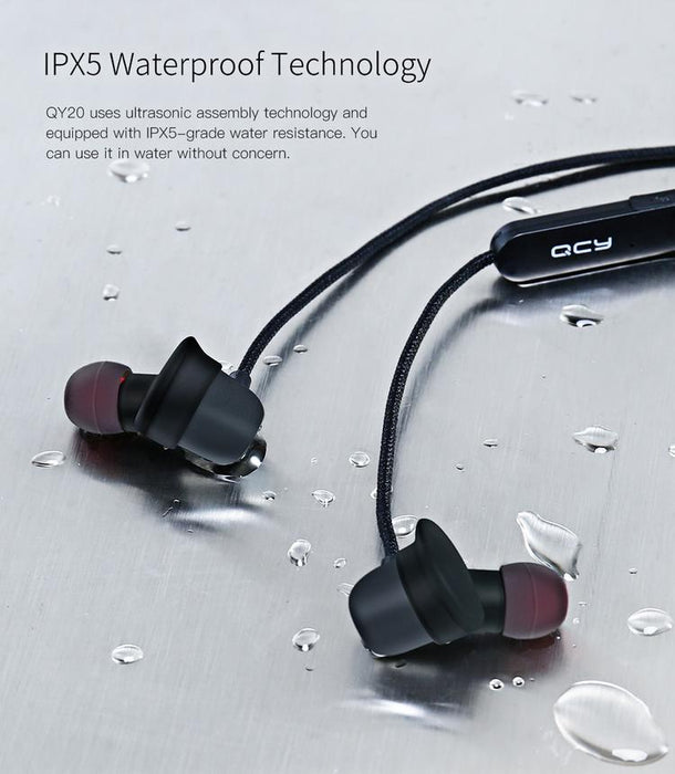 Wireless Headset Blue Bluetooth Headset QCY QY20 IPX5 Waterproof