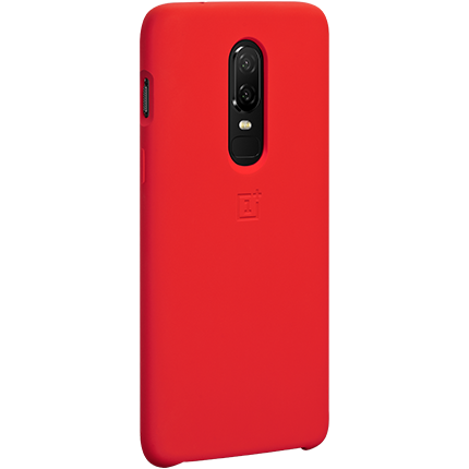 Original red Oneplus shockproof silicone carrying case with suede interior for OnePlus 6