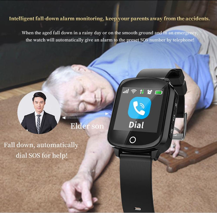Smart watch elderly D200 screen with 1.54 '', SIM card, GPS tracking, SOS calls, pulse, blood pressure, alarm falling