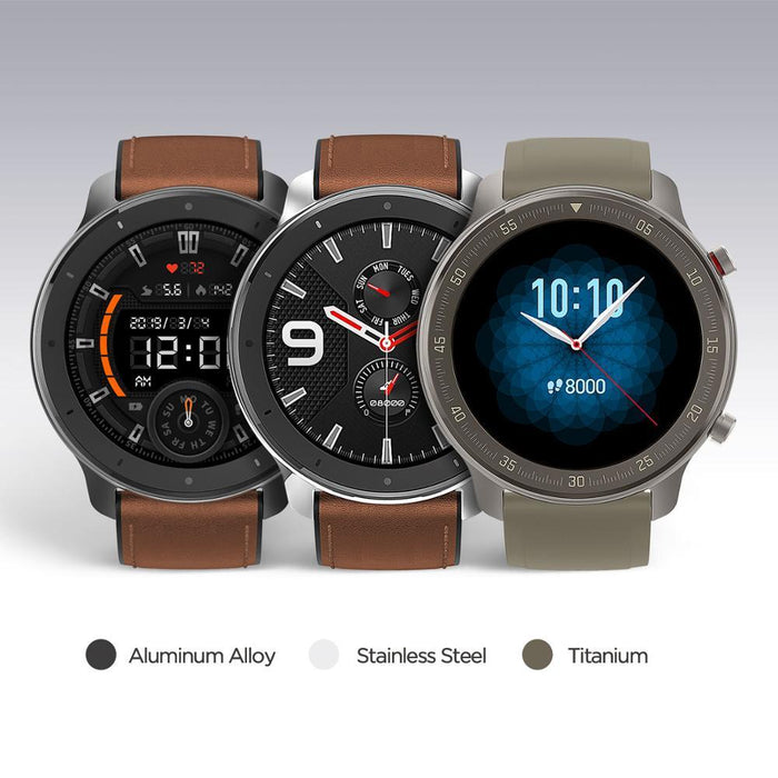 Smart watch Amazfit GTR 47mm Titanium edition, 5ATM, 24 days of battery life, Titanium housing