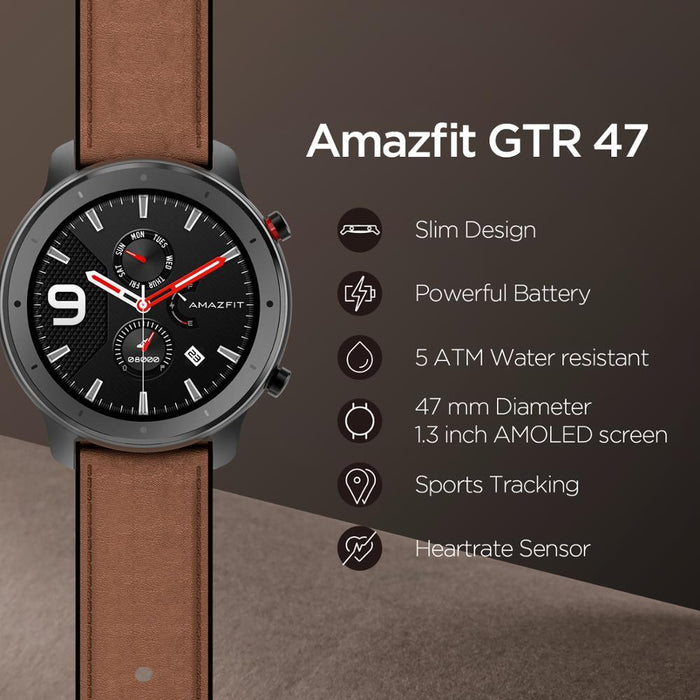 Smart watch Amazfit GTR 47mm, 5ATM, 24 days of battery life, Aluminum housing