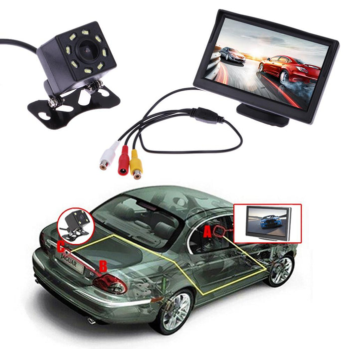 Waterproof reversing camera with a monitor and night vision