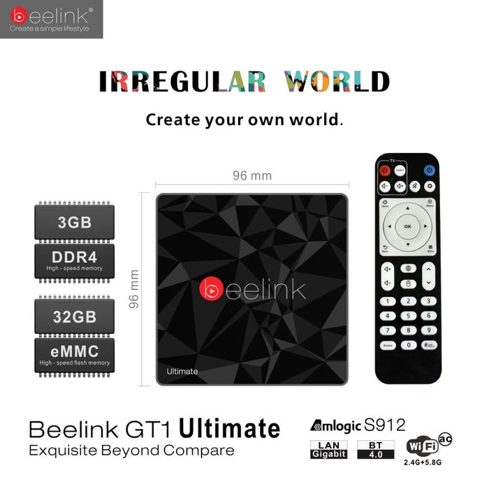 TV box Beelink GT1 Ultimate, Android 7.1, 3GB RAM, 32GB ROM, WiFi, 4K, Bluetooth 4.0