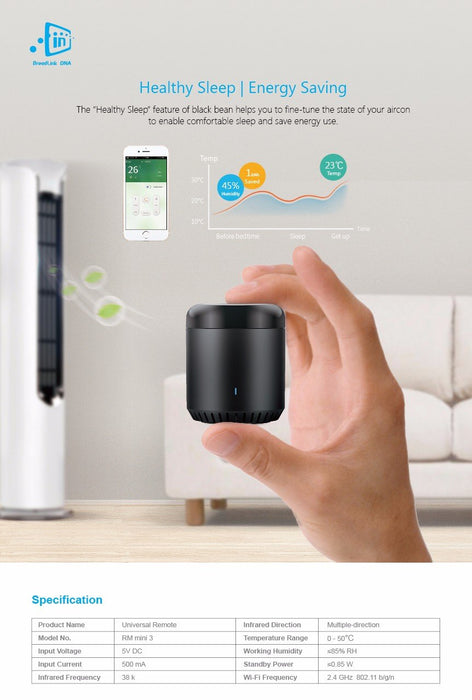 Smart remote for home and office with WiFi / IR timer Broadlink RM Mini 3