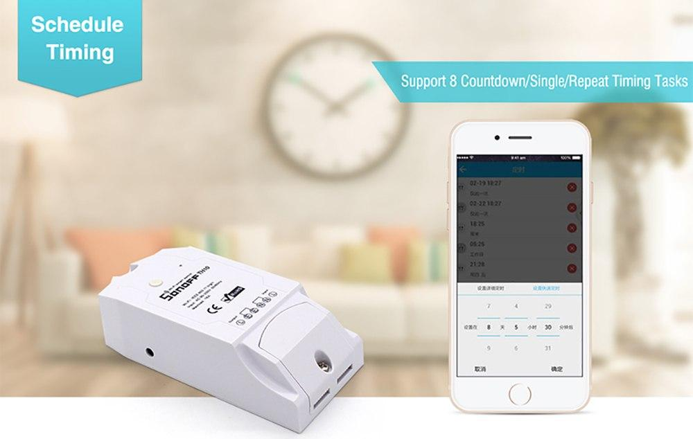 Smart Wi-Fi switch Sonoff TH16, 16A 2200W, with a sensor for temperature and humidity
