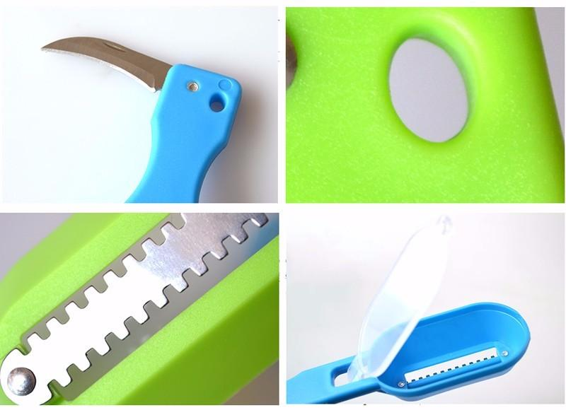 Utensil with a knife for cleaning scales and entrails of fish