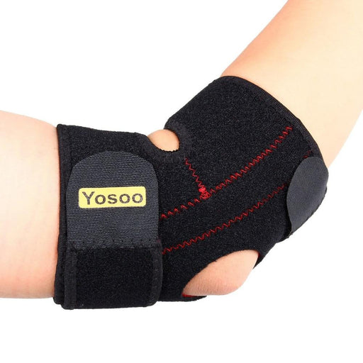 Adjustable neoprene elbow pad, analgesic