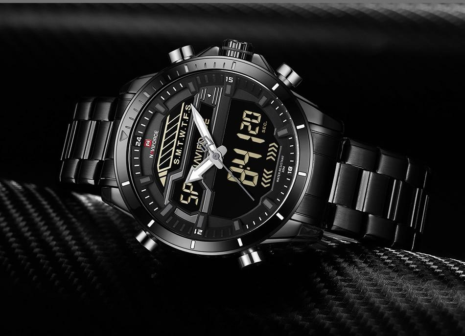 Waterproof male quartz watch with dual display NAVIFORCE 9133