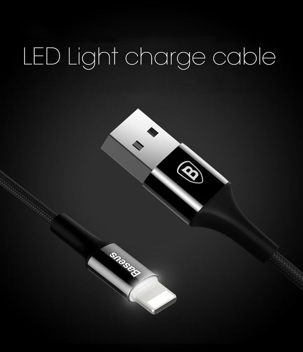 Luminosity LED charging cable Baseus 8pin for iPhone 5/6/7/8 / X / XS / XR, 25cm, 1m, 1.5m, 2m