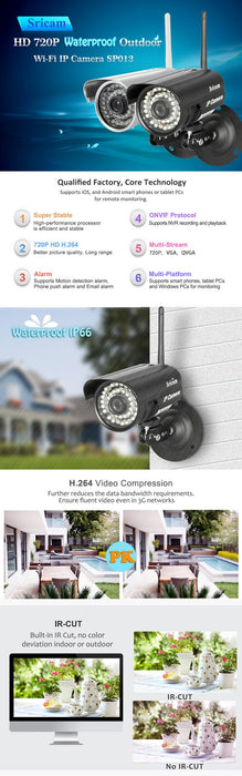 Waterproof outdoor IP camera Sricam SP013 HD 720P with WIFI, IR, motion detection