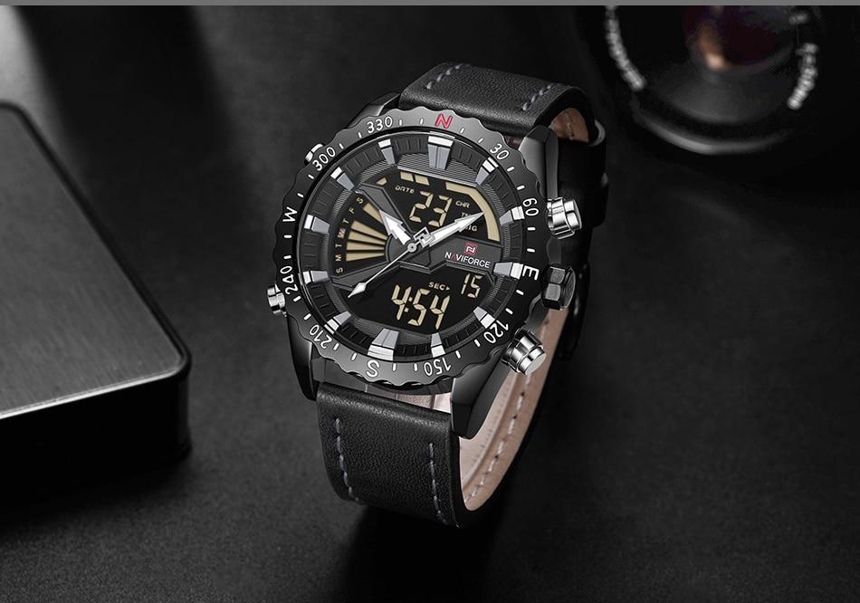 Waterproof male quartz watch with dual display NAVIFORCE 9136
