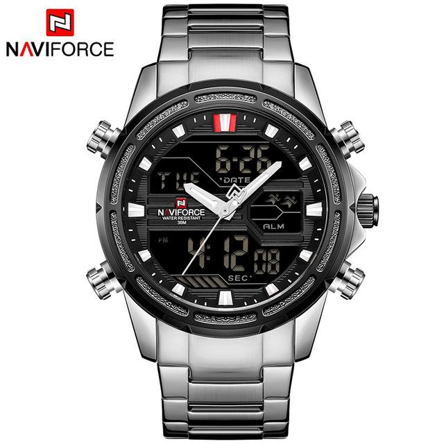 Waterproof male quartz watch with dual display NAVIFORCE 9138
