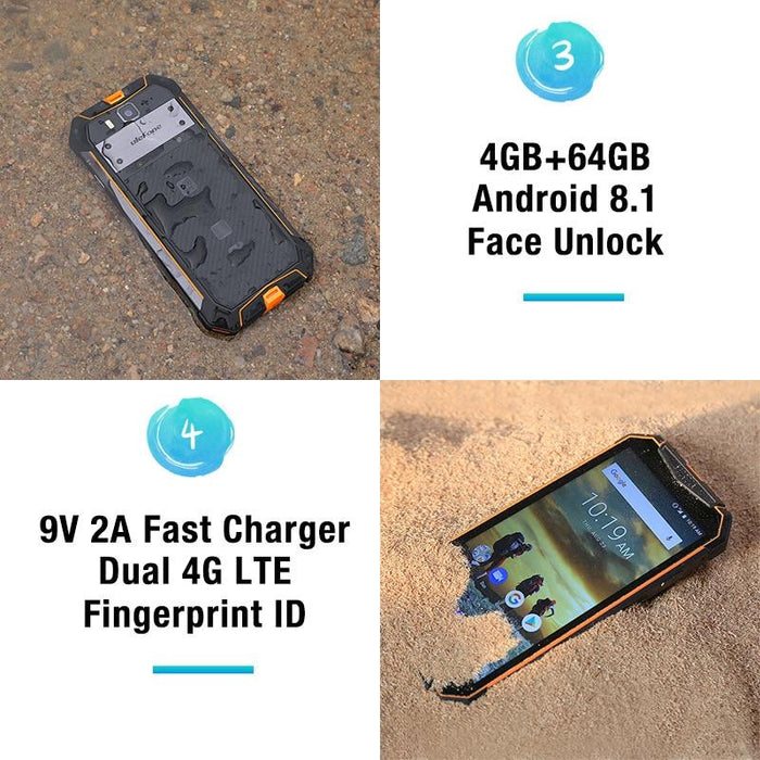 Smartphone Ulefone Armor 3, IP68 Waterproof, Android8.1, 4GB + 64GB, 21MP, 10300mAh