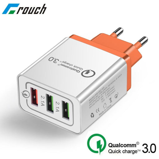 Smart adapter Qualcomm 3.0 Quick Charge with three ports 3A, 2.1A