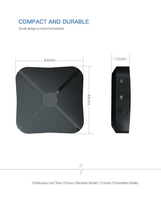 2in1 Bluetooth Transmitter and Receiver for TV, computer or car