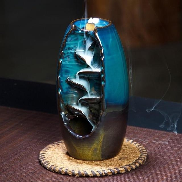 Ceramic vase for burning incense for home and office type mountain river